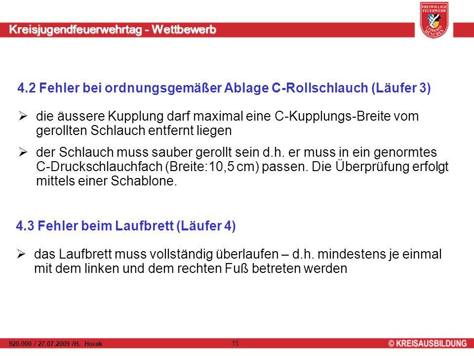 Kreisjugendfeuerwehrtag - Wettbewerb 920.000 / 27.07.2009 /H. Horak 15 4.2 Fehler bei ordnungsgemäßer Ablage C-Rollschlauch (Läufer 3) die äussere Kup