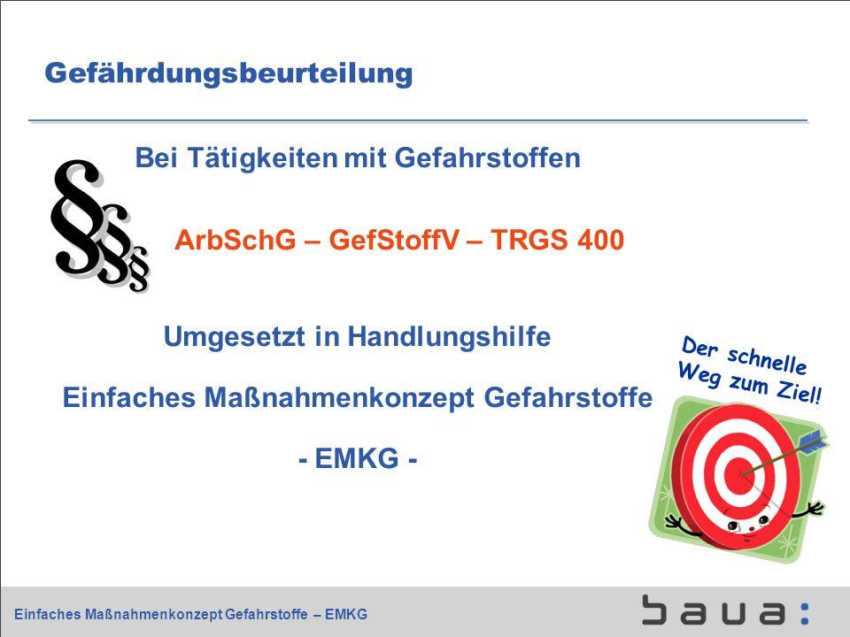 Einfaches Maßnahmenkonzept Gefahrstoffe – EMKG Gefährdungsbeurteilung Bei Tätigkeiten mit Gefahrstoffen ArbSchG – GefStoffV – TRGS 400 Umgesetzt in Ha