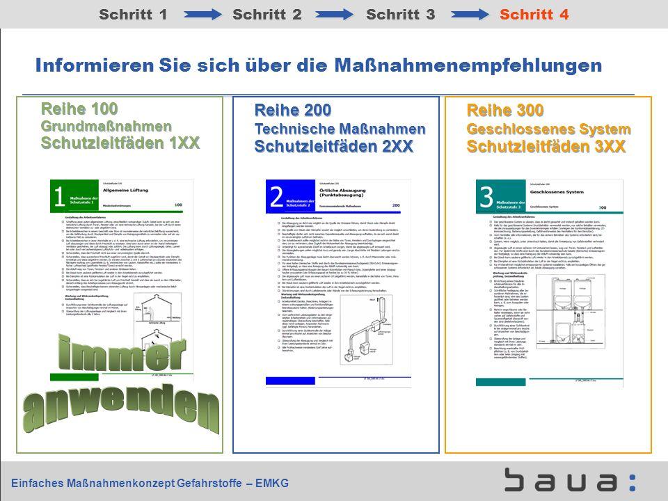Einfaches Maßnahmenkonzept Gefahrstoffe – EMKG Informieren Sie sich über die Maßnahmenempfehlungen Schritt 1Schritt 2Schritt 3Schritt 4 Reihe 200 Tech