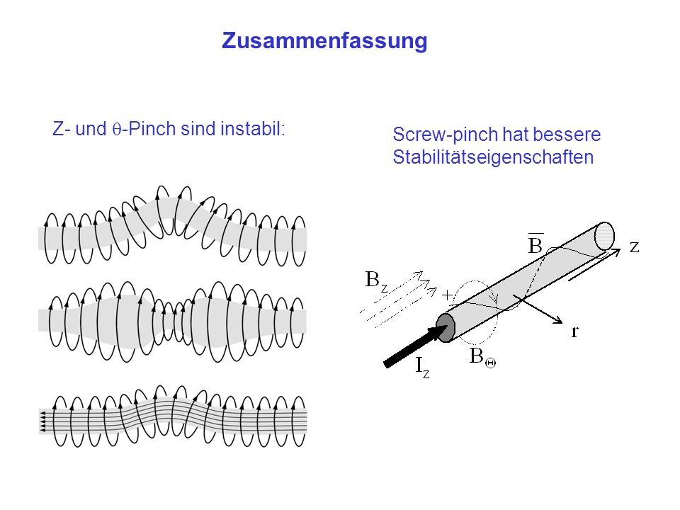 Z- und -Pinch sind instabil: Zusammenfassung Screw-pinch hat bessere Stabilitätseigenschaften