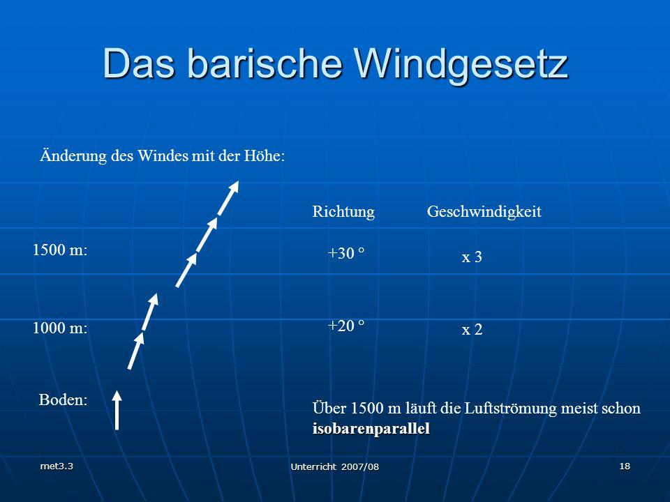 met3.3 Unterricht 2007/08 18 Das barische Windgesetz Änderung des Windes mit der Höhe: Boden: 1000 m: 1500 m: RichtungGeschwindigkeit +20 ° +30 ° x 2