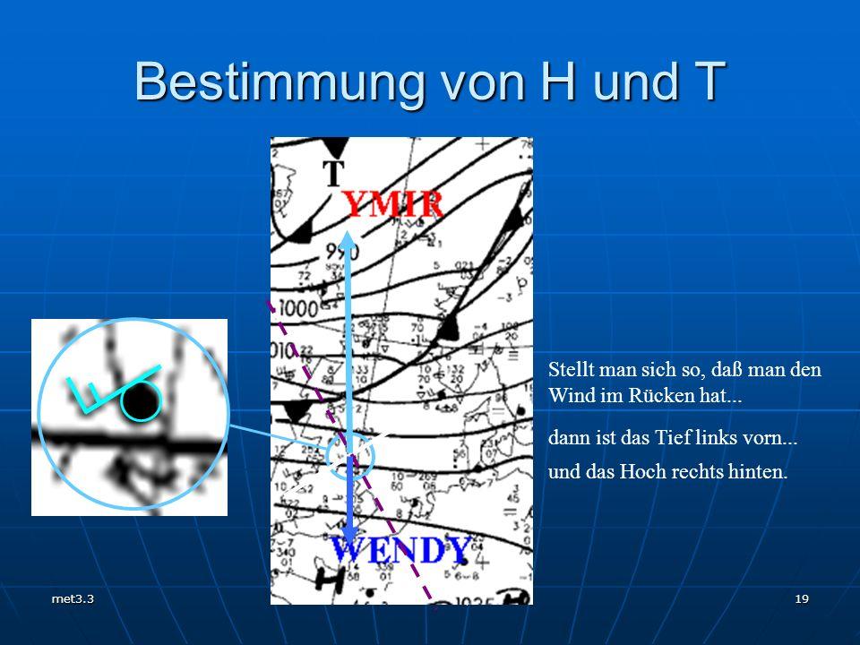 met3.3 Unterricht 2007/08 19 Bestimmung von H und T Stellt man sich so, daß man den Wind im Rücken hat... dann ist das Tief links vorn... und das Hoch