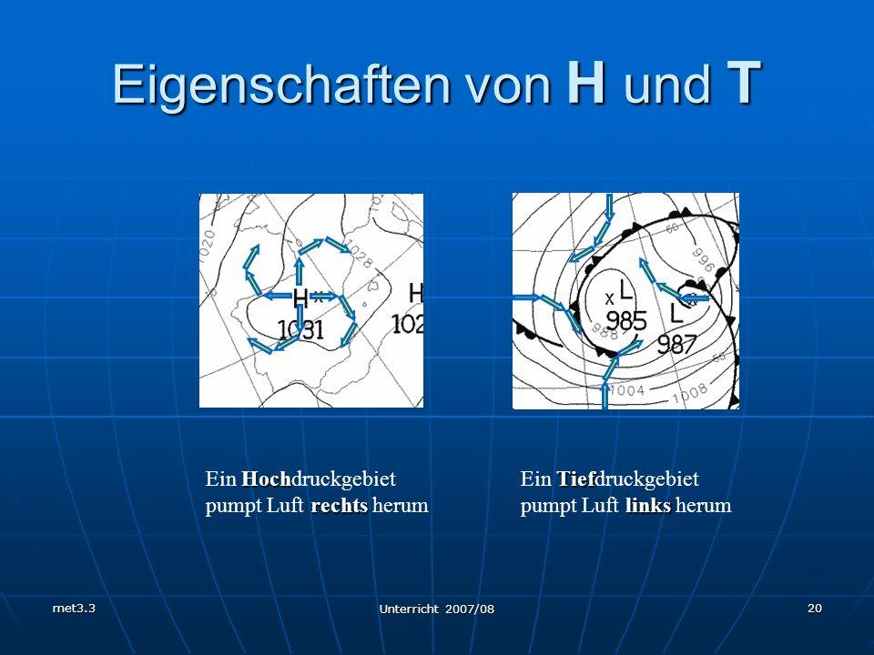 met3.3 Unterricht 2007/08 20 Eigenschaften von H und T Hoch rechts Ein Hochdruckgebiet pumpt Luft rechts herum Tief links Ein Tiefdruckgebiet pumpt Lu
