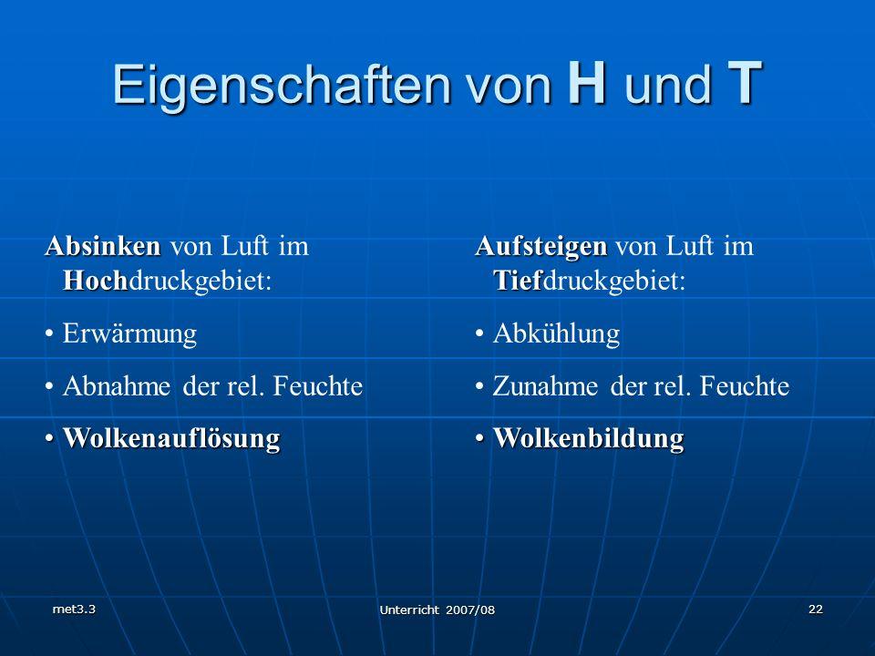 met3.3 Unterricht 2007/08 22 Eigenschaften von H und T Absinken Hoch Absinken von Luft im Hochdruckgebiet: Erwärmung Abnahme der rel. Feuchte Wolkenau
