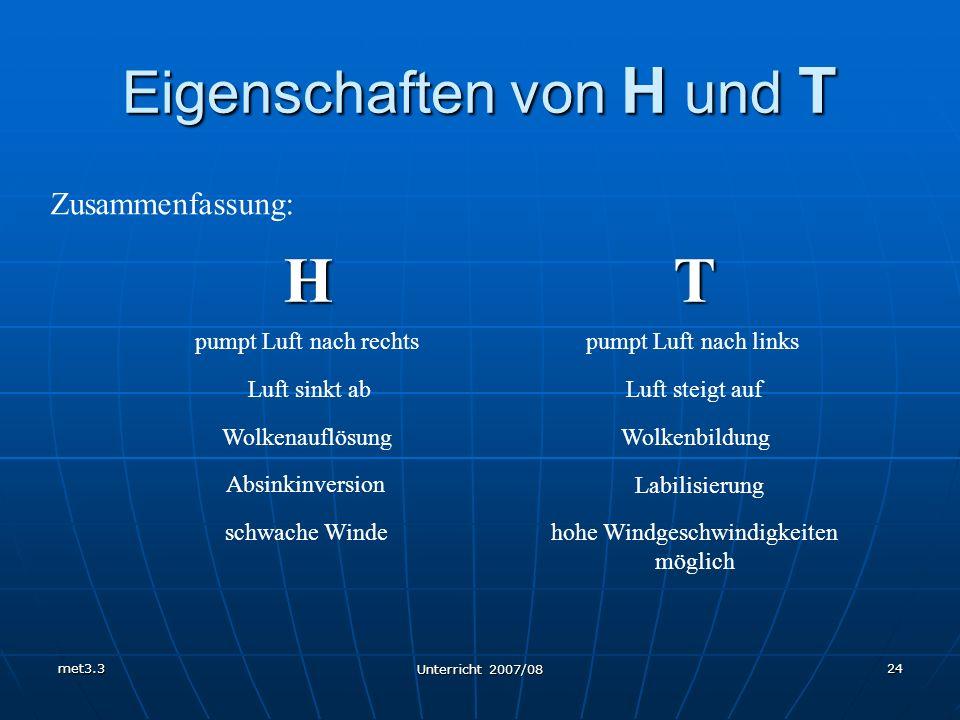 met3.3 Unterricht 2007/08 24 Eigenschaften von H und T Zusammenfassung: HT pumpt Luft nach rechtspumpt Luft nach links Luft sinkt abLuft steigt auf Wo