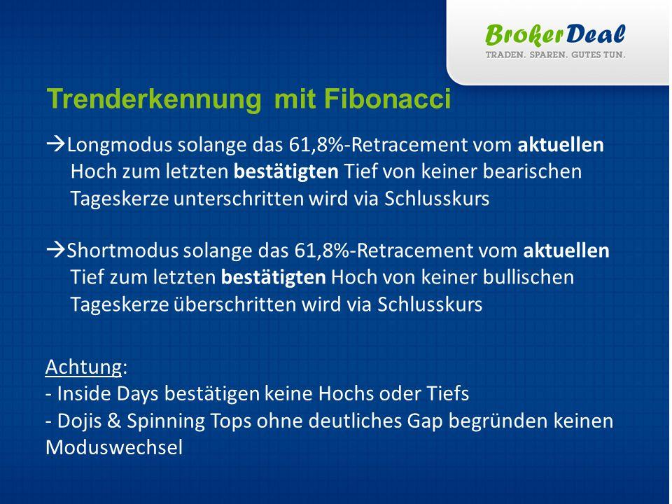 1.Trendbestimmung mittels Fibonaccis 2. Korrektur abwarten, Kurs muss günstiger geworden sein 3.