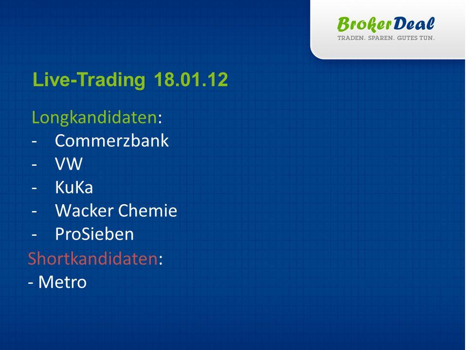 Longkandidaten: -Commerzbank -VW -KuKa -Wacker Chemie -ProSieben Live-Trading 18.01.12 Shortkandidaten: - Metro