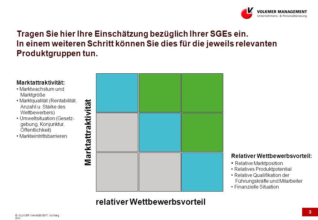 3 © VOLKMER MANAGEMENT, Nürnberg 2014 Tragen Sie hier Ihre Einschätzung bezüglich Ihrer SGEs ein. In einem weiteren Schritt können Sie dies für die je