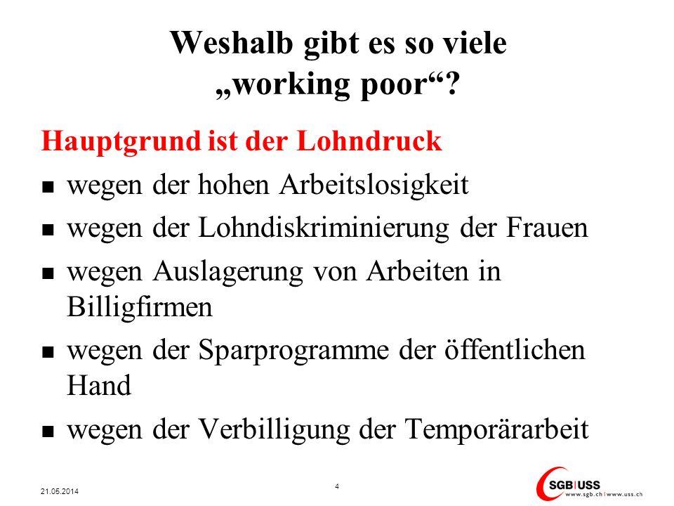 Weshalb gibt es so viele working poor? Hauptgrund ist der Lohndruck wegen der hohen Arbeitslosigkeit wegen der Lohndiskriminierung der Frauen wegen Au