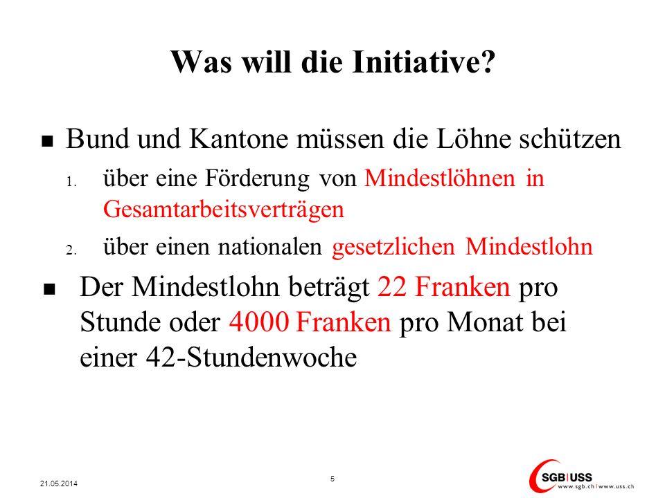 Was will die Initiative? Bund und Kantone müssen die Löhne schützen 1. über eine Förderung von Mindestlöhnen in Gesamtarbeitsverträgen 2. über einen n