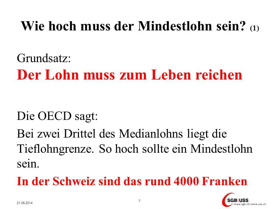 Wie hoch muss der Mindestlohn sein? (1) Grundsatz: Der Lohn muss zum Leben reichen Die OECD sagt: Bei zwei Drittel des Medianlohns liegt die Tieflohng