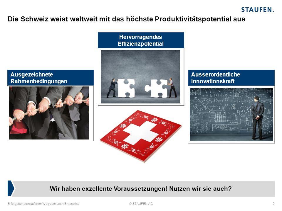 Hoch innovative Produkte und hohe Qualität als Schweizer Tugend Erfolgsfaktoren auf dem Weg zum Lean Enterprise© STAUFEN.AG3 Die Potentiale sind meist greifbar Transport nur mit Hubwagen möglich Regal sind unzu- gänglich Wo ist das richtige Werkzeug.