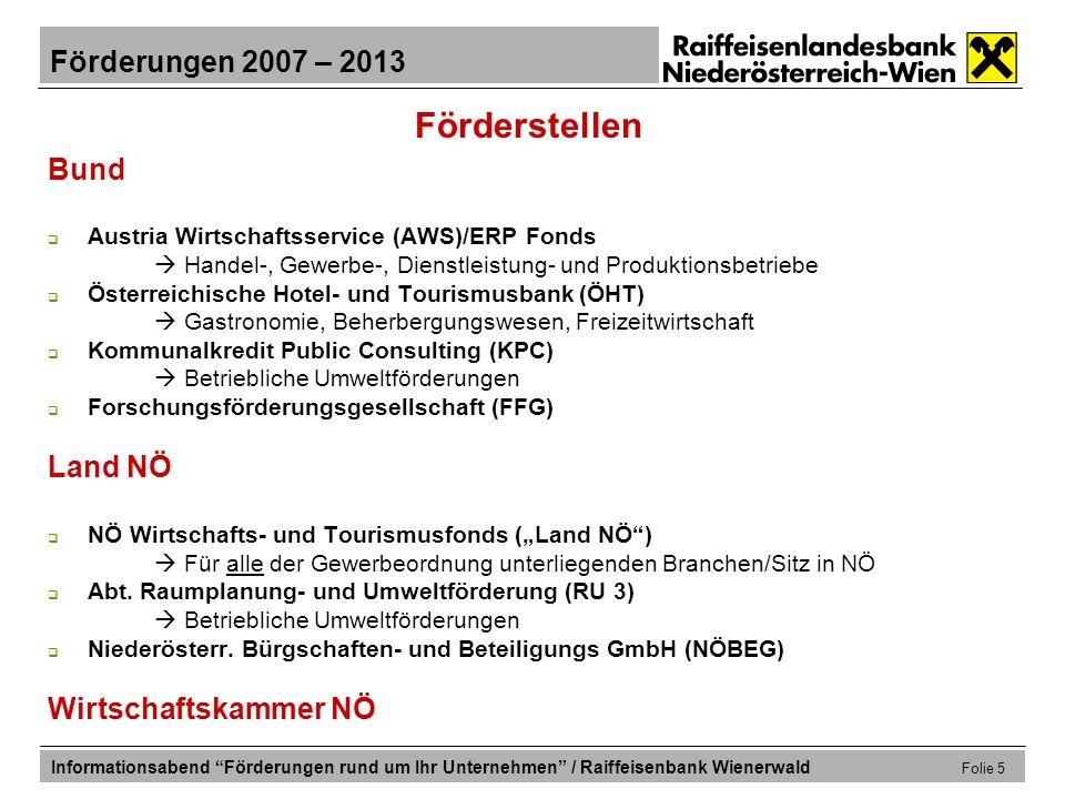Förderungen 2007 – 2013 Informationsabend Förderungen rund um Ihr Unternehmen / Raiffeisenbank Wienerwald Folie 26 Förderungen für die Produktweiterentwicklung Forschungsförderungsgesellschaft (FFG): Zuschuss Darlehen d.