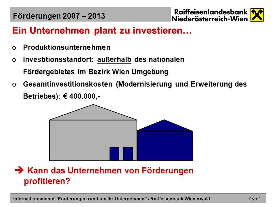 Förderungen 2007 – 2013 Informationsabend Förderungen rund um Ihr Unternehmen / Raiffeisenbank Wienerwald Folie 20 Förderungen für die Modernisierungsinvestition … zum Zweck der qualitativ höherwertigen Leistungserstellung.