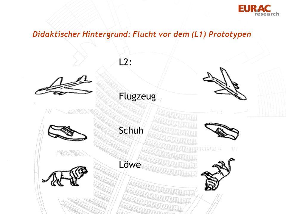 Didaktischer Hintergrund: Flucht vor dem (L1) Prototypen L2: Flugzeug Schuh Löwe