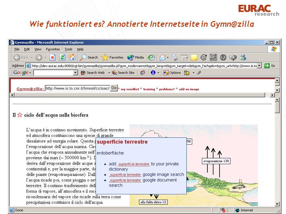 Wie funktioniert es Annotierte Internetseite in Gymn@zilla