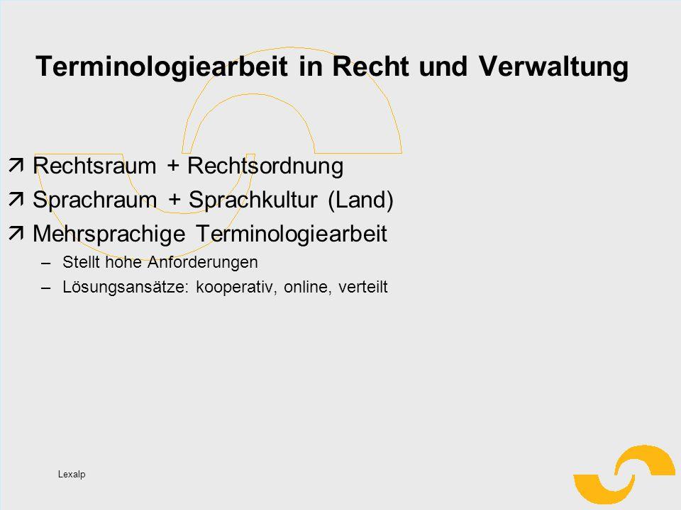 Lexalp Terminologiearbeit in Recht und Verwaltung Rechtsraum + Rechtsordnung Sprachraum + Sprachkultur (Land) Mehrsprachige Terminologiearbeit –Stellt