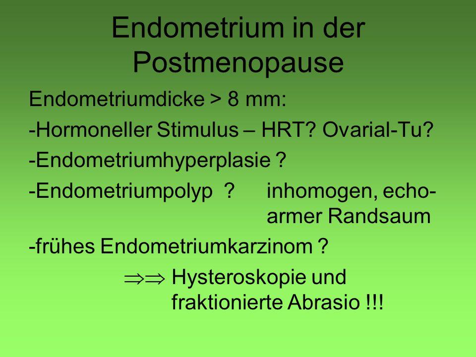 Endometrium in der Postmenopause Endometriumdicke > 8 mm: -Hormoneller Stimulus – HRT? Ovarial-Tu? -Endometriumhyperplasie ? -Endometriumpolyp ?inhomo