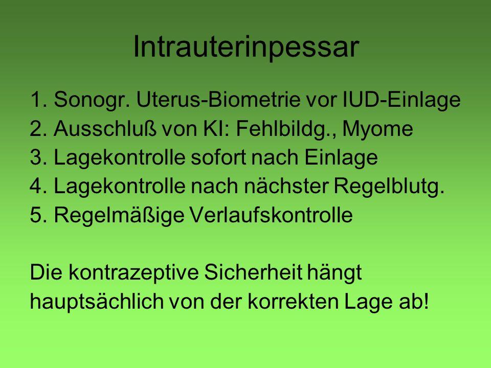 Intrauterinpessar 1. Sonogr. Uterus-Biometrie vor IUD-Einlage 2. Ausschluß von KI: Fehlbildg., Myome 3. Lagekontrolle sofort nach Einlage 4. Lagekontr