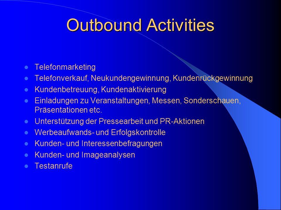 Inbound Activities Informationsservice Telefon, Fax, Post und E-Mail Voice-Mail, Faxabruf Gewinn- und Rätselhotline, Medienaktivitäten Bestell- und Bu