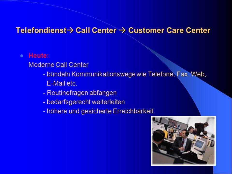 Telefondienst Telefondienst Gestern: Gestrige und oftmals auch heutige Telefone/IT-Systeme erlauben unterschiedliche, direkte Zugänge auf die Experten