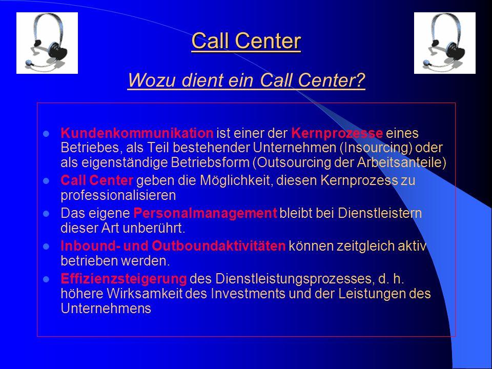 Call Center Kundenkommunikation ist einer der Kernprozesse eines Betriebes, als Teil bestehender Unternehmen (Insourcing) oder als eigenständige Betriebsform (Outsourcing der Arbeitsanteile) Call Center geben die Möglichkeit, diesen Kernprozess zu professionalisieren Das eigene Personalmanagement bleibt bei Dienstleistern dieser Art unberührt.