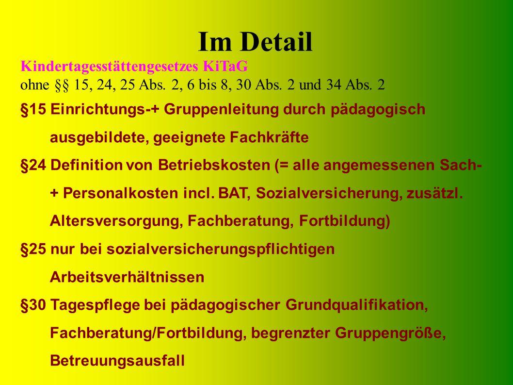 Im Detail Kindertagesstättengesetzes KiTaG ohne §§ 15, 24, 25 Abs.