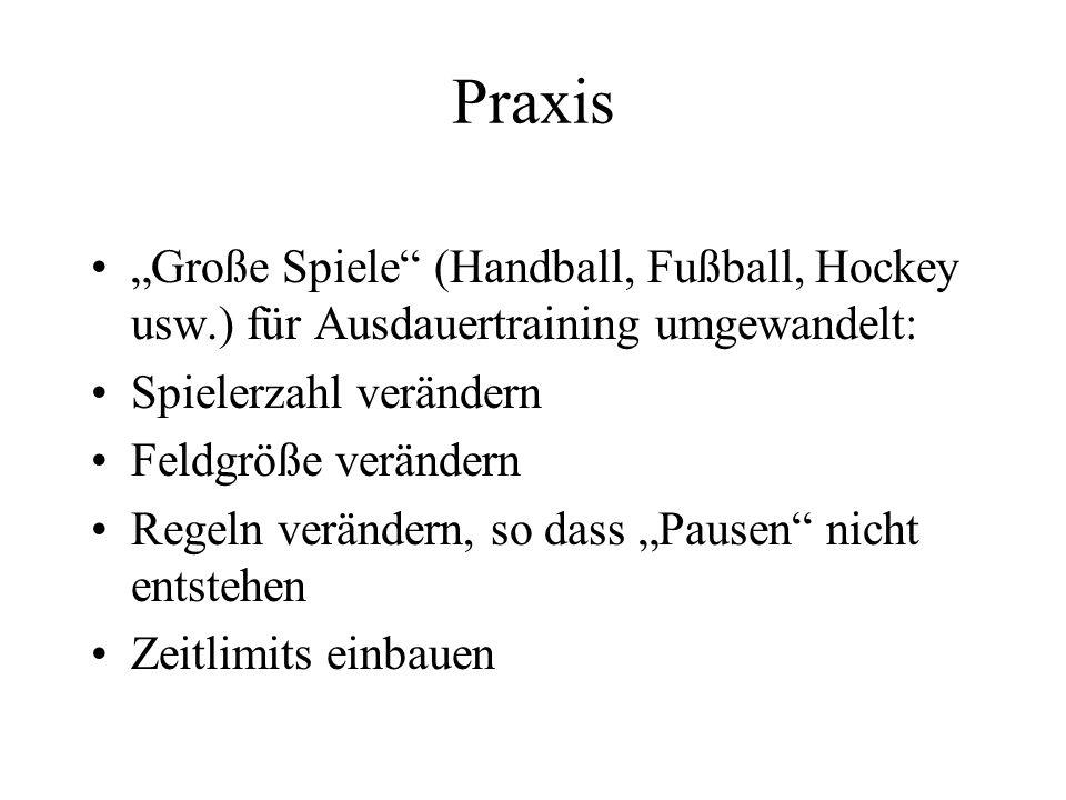 Praxis Große Spiele (Handball, Fußball, Hockey usw.) für Ausdauertraining umgewandelt: Spielerzahl verändern Feldgröße verändern Regeln verändern, so dass Pausen nicht entstehen Zeitlimits einbauen