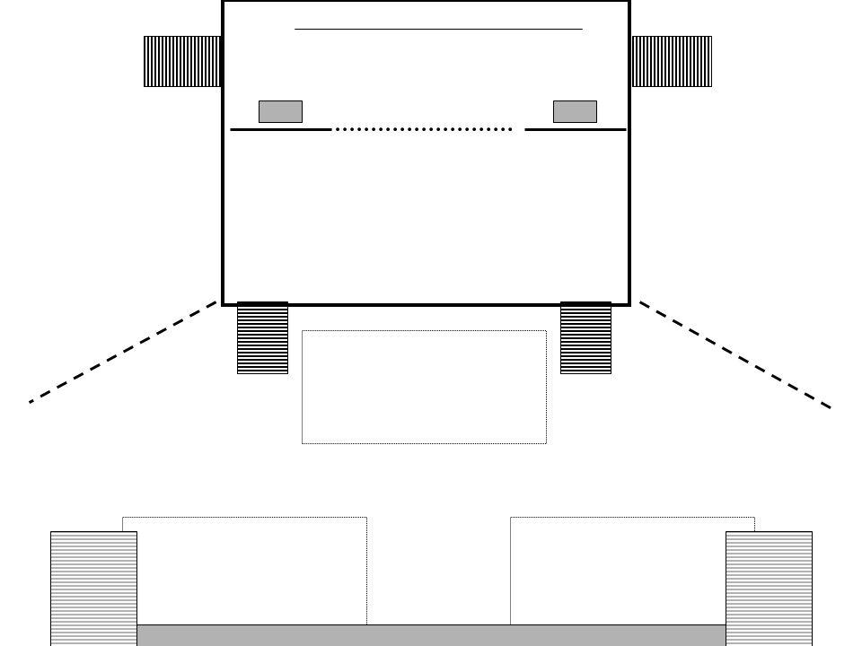 Aufgang Vorderbühne rechts Vorderbühne 12 x 4,50 m Hinterbühne 12 x 4,50 m Trennvorhang 3 x 3 m Gazevorhang 6 x 3 m Podest 2 x 1 x 3 m Leinwand 6 x 4 m über dem Gazevorhang Sichtschutzvorhang ca.