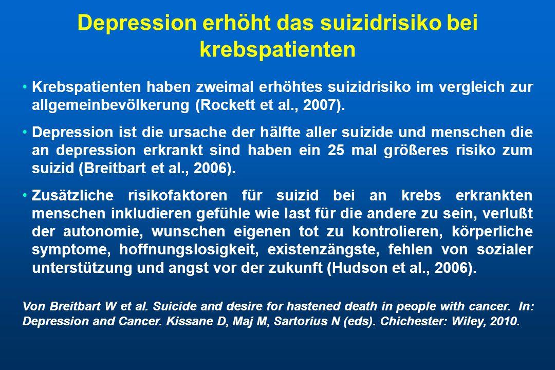 Depression erhöht das suizidrisiko bei krebspatienten Krebspatienten haben zweimal erhöhtes suizidrisiko im vergleich zur allgemeinbevölkerung (Rockett et al., 2007).
