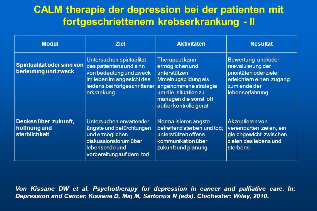 CALM therapie der depression bei der patienten mit fortgeschriettenem krebserkrankung - II ModulZielAktivitätenResultat Spiritualität oder sinn von bedeutung und zweck Untersuchen spiritualität des patientens und sinn von bedeutung und zweck im leben im angesicht des leidens bei fortgeschrittener erkrankung Therapeut kann ermöglichen und unterstützen Mmeinugsbildung als angenommene strategie um die situation zu managen die sonst oft außer kontrolle gerät Bewertung und/oder reevaluierung der prioritäten oder ziele; erleichtern einen zugang zum ende der lebenserfahrung Denken über zukunft, hoffnung und sterblichkeit Untersuchen erwartender ängste und befürchtungen und ermöglichen diskussionsforum über lebensende und vorbereitung auf dem tod Normalisieren ängste betreffend sterben und tod; unterstützen offene kommunikation über zukunft und planung Akzeptieren von vereinbarten zielen, ein gleichgewicht zwischen zielen des lebens und sterbens Von Kissane DW et al.