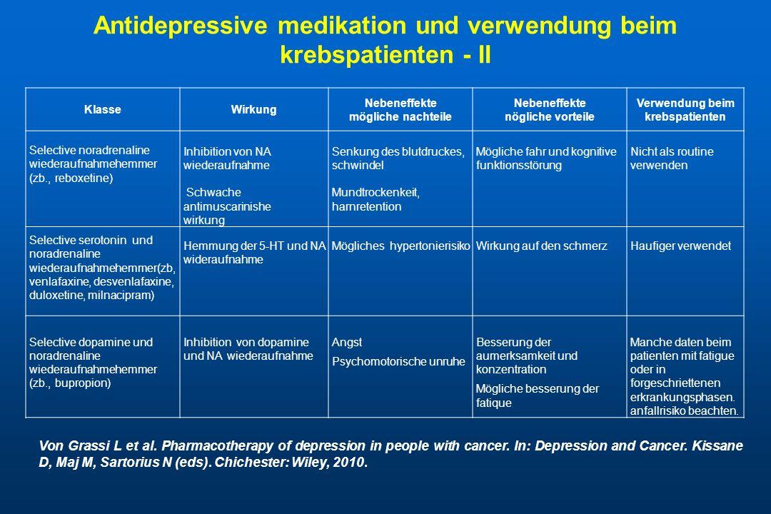 Antidepressive medikation und verwendung beim krebspatienten - II KlasseWirkung Nebeneffekte mögliche nachteile Nebeneffekte nögliche vorteile Verwend