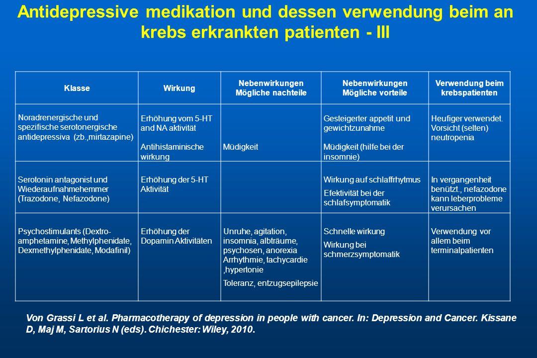 Antidepressive medikation und dessen verwendung beim an krebs erkrankten patienten - III KlasseWirkung Nebenwirkungen Mögliche nachteile Nebenwirkunge
