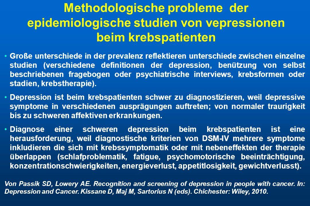 Methodologische probleme der epidemiologische studien von vepressionen beim krebspatienten Große unterschiede in der prevalenz reflektieren unterschie