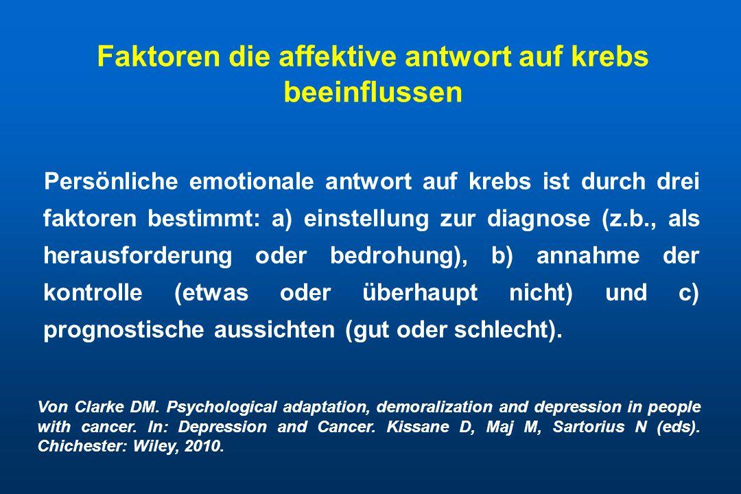 Faktoren die affektive antwort auf krebs beeinflussen Persönliche emotionale antwort auf krebs ist durch drei faktoren bestimmt: a) einstellung zur di