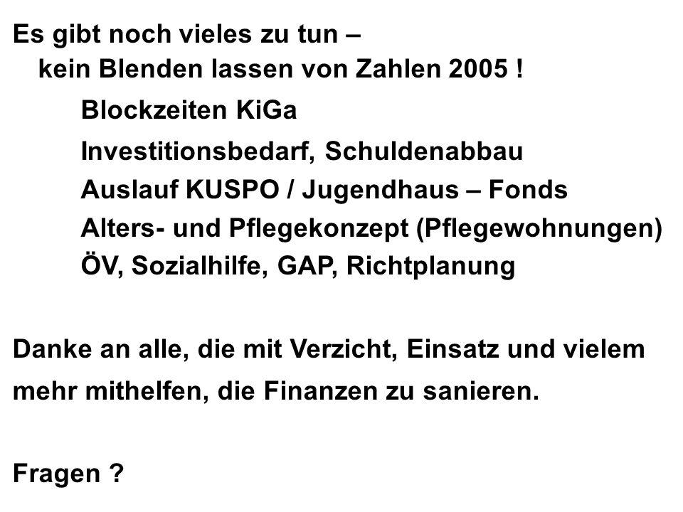 Es gibt noch vieles zu tun – kein Blenden lassen von Zahlen 2005 ! Blockzeiten KiGa Investitionsbedarf, Schuldenabbau Auslauf KUSPO / Jugendhaus – Fon