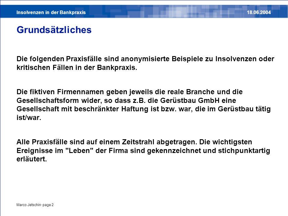 Insolvenzen in der Bankpraxis18.06.2004 Marco Jetschin· page 2 Grundsätzliches Die folgenden Praxisfälle sind anonymisierte Beispiele zu Insolvenzen o