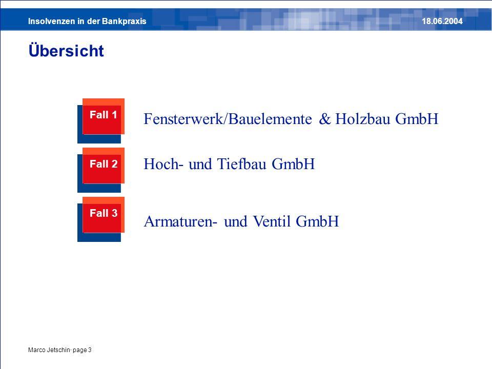 Insolvenzen in der Bankpraxis18.06.2004 Marco Jetschin· page 4 Fall 1 - Fensterwerk/Bauelemente & Holzbau GmbH Mai 200419972000200120022003 123456 7 891011 Problem: optimistische Planungen entsprachen nicht der Realität