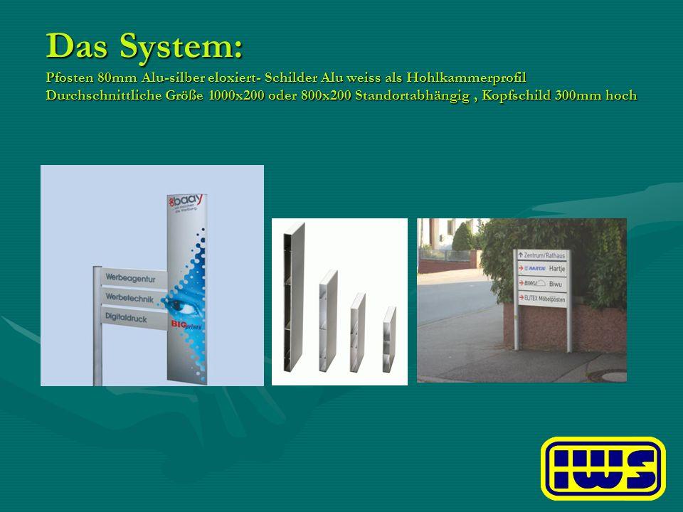 Das System: Pfosten 80mm Alu-silber eloxiert- Schilder Alu weiss als Hohlkammerprofil Durchschnittliche Größe 1000x200 oder 800x200 Standortabhängig,