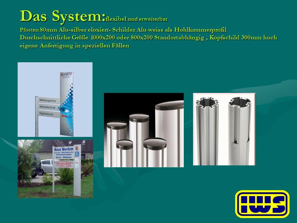 Das System: flexibel und erweiterbar Pfosten 80mm Alu-silber eloxiert- Schilder Alu weiss als Hohlkammerprofil Durchschnittliche Größe 1000x200 oder 8