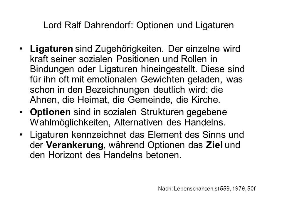 Lord Ralf Dahrendorf: Optionen und Ligaturen Ligaturen sind Zugehörigkeiten. Der einzelne wird kraft seiner sozialen Positionen und Rollen in Bindunge