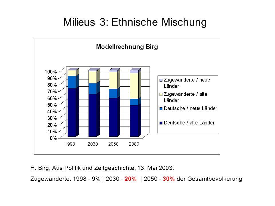 H. Birg, Aus Politik und Zeitgeschichte, 13. Mai 2003: Zugewanderte: 1998 - 9% | 2030 - 20% | 2050 - 30% der Gesamtbevölkerung Milieus 3: Ethnische Mi