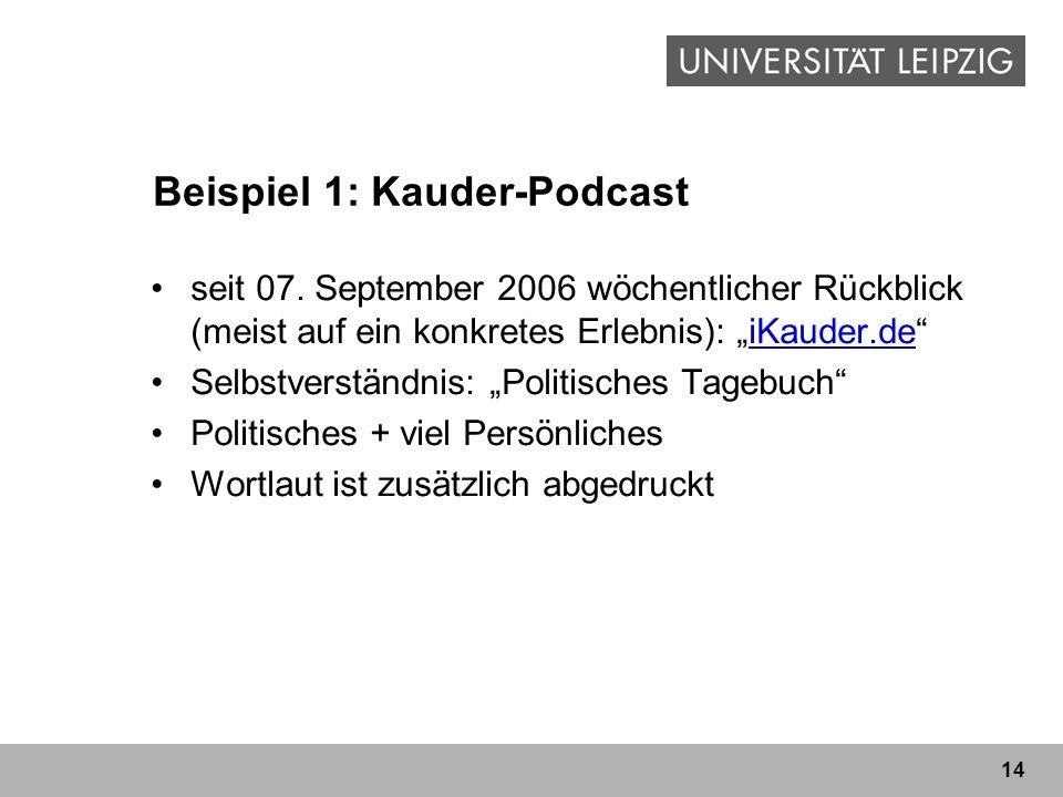14 Beispiel 1: Kauder-Podcast seit 07. September 2006 wöchentlicher Rückblick (meist auf ein konkretes Erlebnis): iKauder.deiKauder.de Selbstverständn