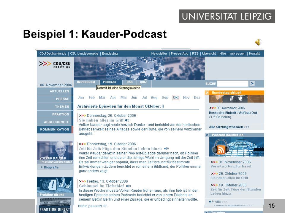 15 Beispiel 1: Kauder-Podcast
