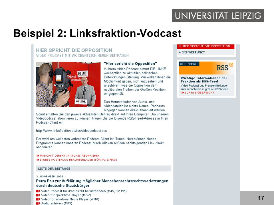 17 Beispiel 2: Linksfraktion-Vodcast