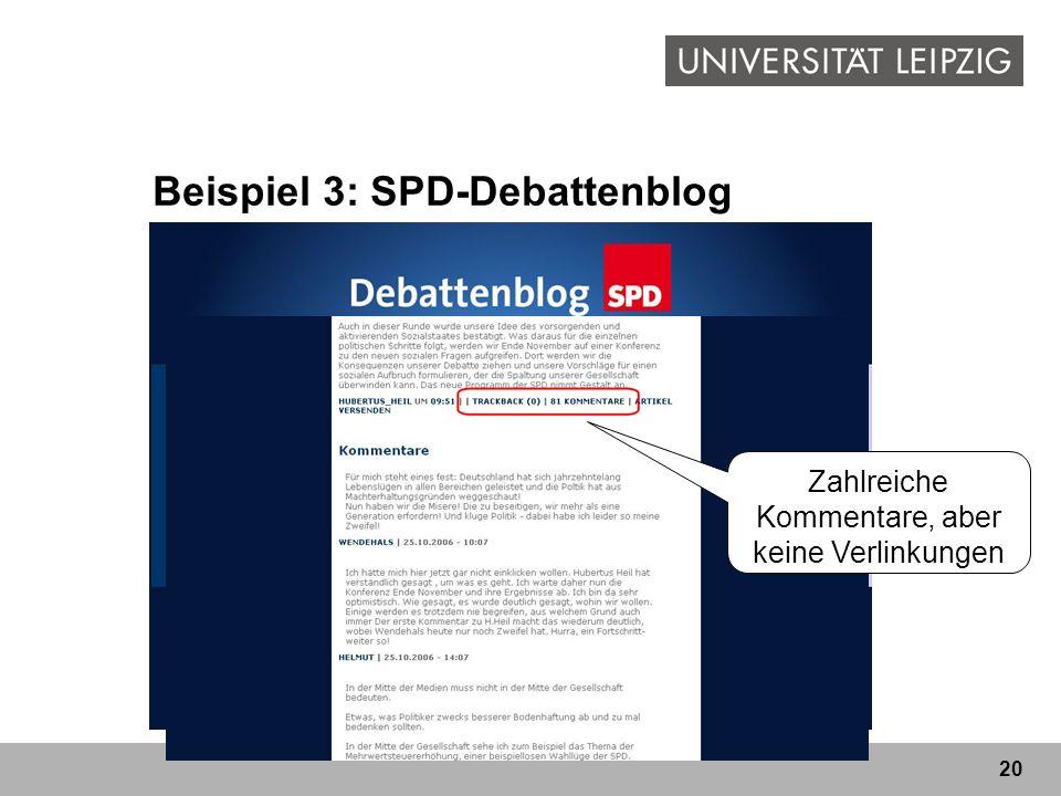 20 Beispiel 3: SPD-Debattenblog Blog zur parteiinternen ProgrammreformBlog Autoren: Andrea Nahles und Hubertus Heil nur unregelmäßige Aktualisierung Z