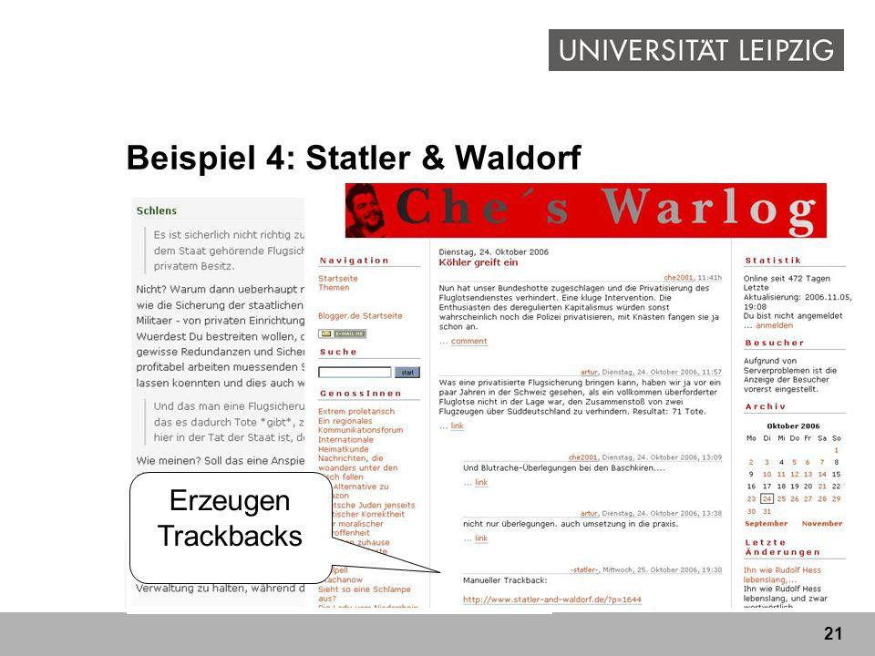 21 Beispiel 4: Statler & Waldorf liberales Blog von zwei Freundenliberales Blog kommentieren hauptsächlich politische, aber auch andere Themen Durch B