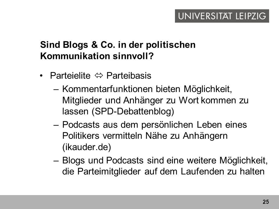 25 Sind Blogs & Co. in der politischen Kommunikation sinnvoll? Parteielite Parteibasis –Kommentarfunktionen bieten Möglichkeit, Mitglieder und Anhänge