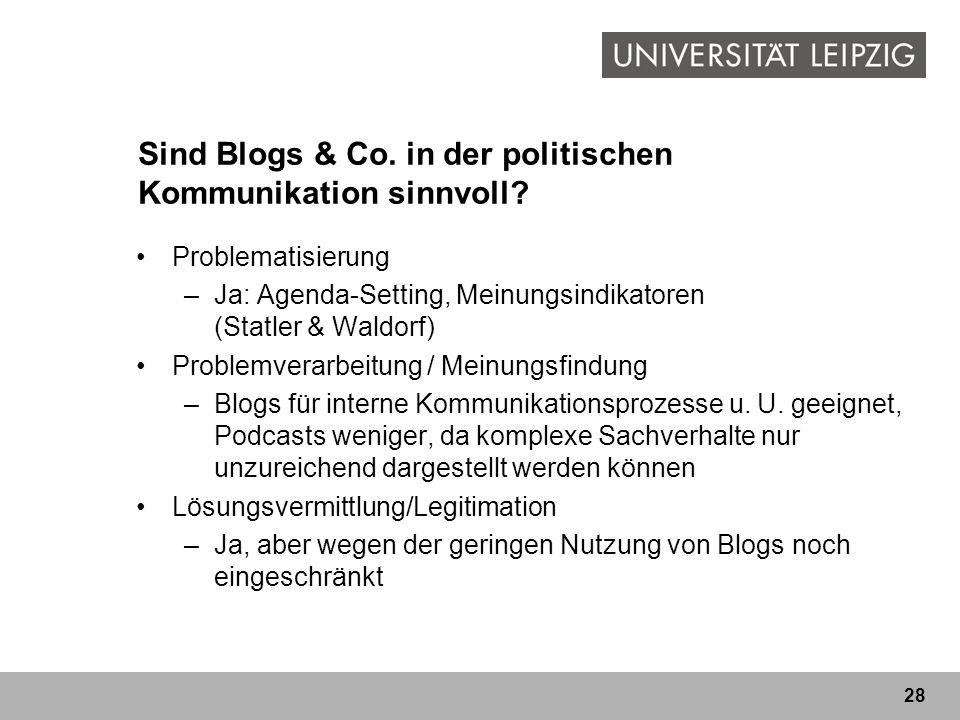 28 Sind Blogs & Co. in der politischen Kommunikation sinnvoll? Problematisierung –Ja: Agenda-Setting, Meinungsindikatoren (Statler & Waldorf) Problemv