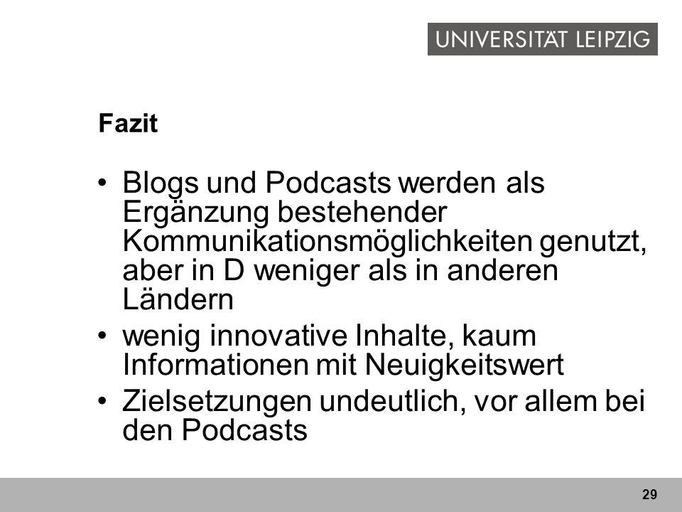 29 Fazit Blogs und Podcasts werden als Ergänzung bestehender Kommunikationsmöglichkeiten genutzt, aber in D weniger als in anderen Ländern wenig innov